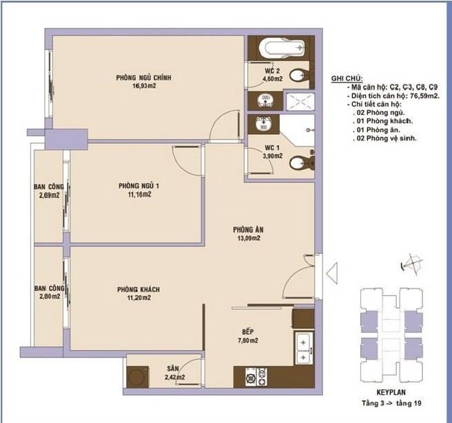 Bán căn hộ Block C – CC The Harmona, 21 Trương Công Định, P14, Tân Bình